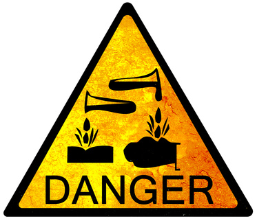 old yellow danger sign - acid