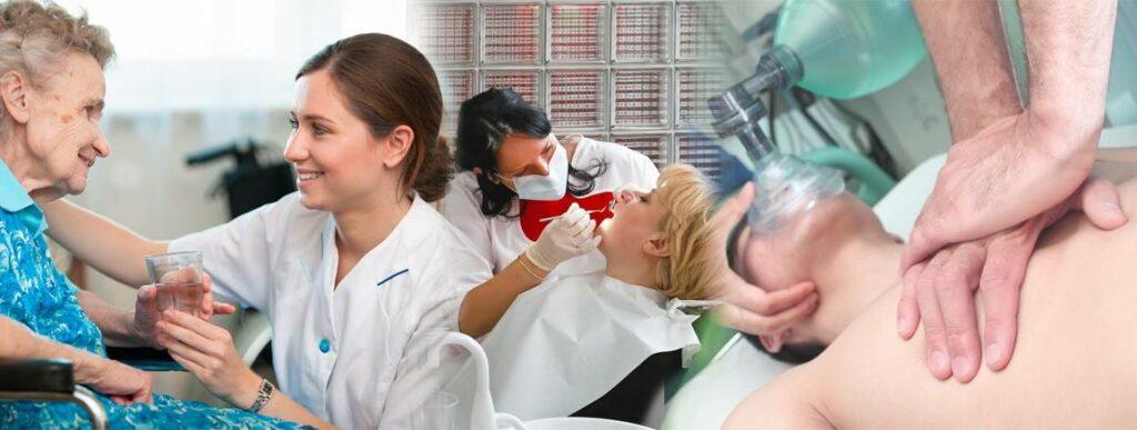 Billede viser sundhedspersonale i kontakt med dame og avanceret luftvejshåndtering. jpg